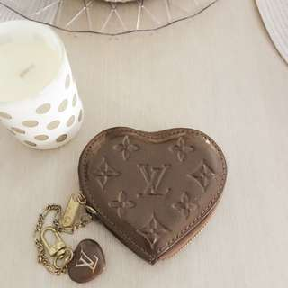 LV monogram brown heart coin purse
