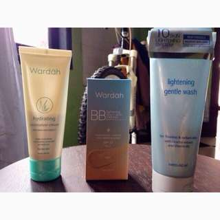 Paket Wardah Lightening Gentle Wash, Hydrating Moisturizer Cream, BB Cream lightening