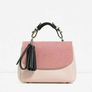 新款🎀粉色拼接手提包