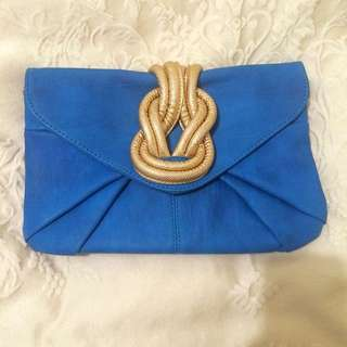 Beautiful Blue & Gold Clutch
