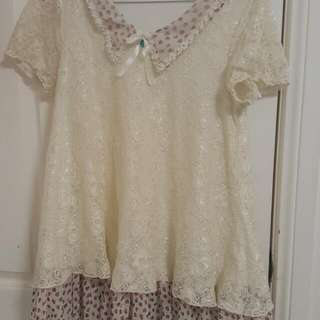 Cream Colour Lace Peter Pan Collar Top