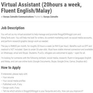 Virtual Assistant (remote, 20hrs A Week)
