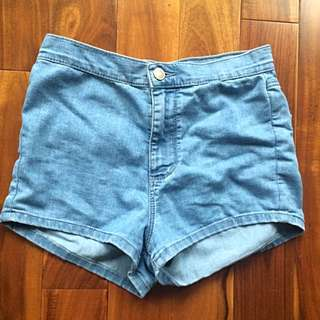 Garage High Waisted Light Wash Denim Shorts