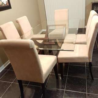 Glass Dining Table With 6 Micro Suede Chairs