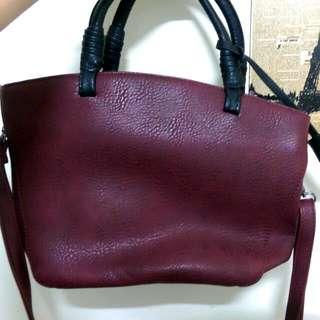 全新✨棗紅色手提包《可肩背》