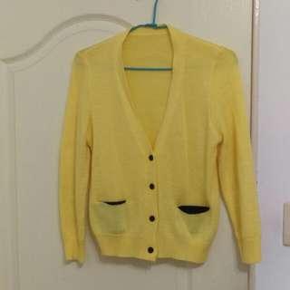 亮黃毛線小外套