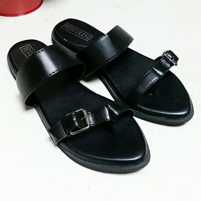【37號】歐美黑色平底拖鞋