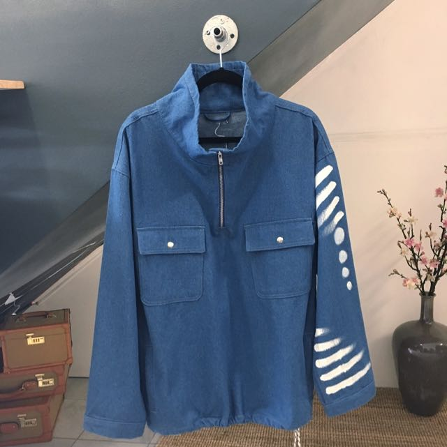 90's Denim Sweater With High Neck