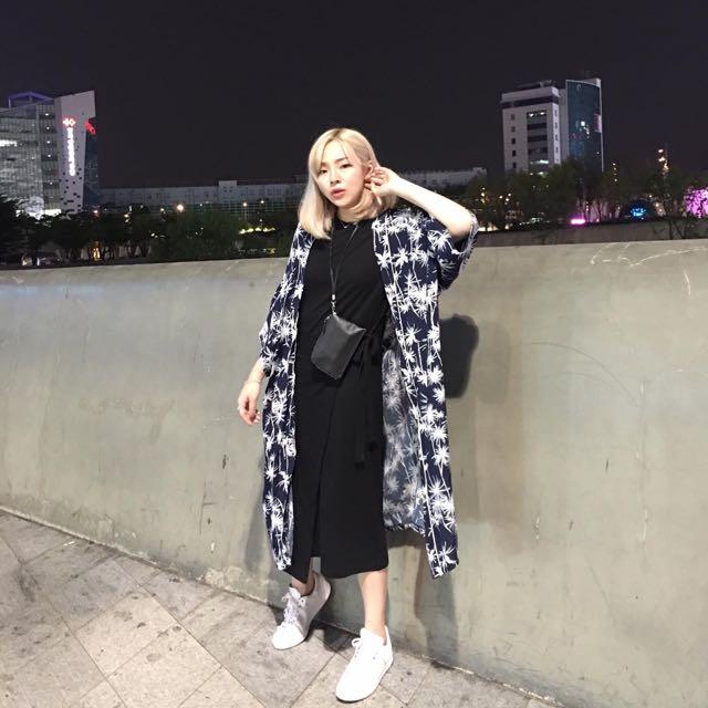 花泥 小姐/ 藍 椰子 樹 罩衫 外套