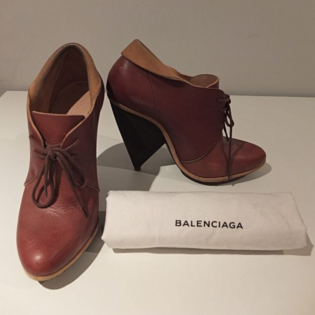 Balenciaga Brown Leather Ankle Boots