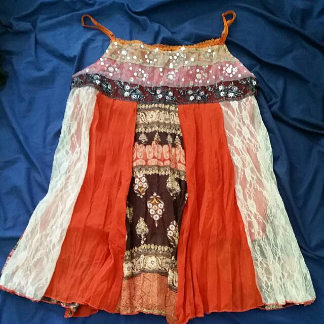 Beaded Orange Boho Top