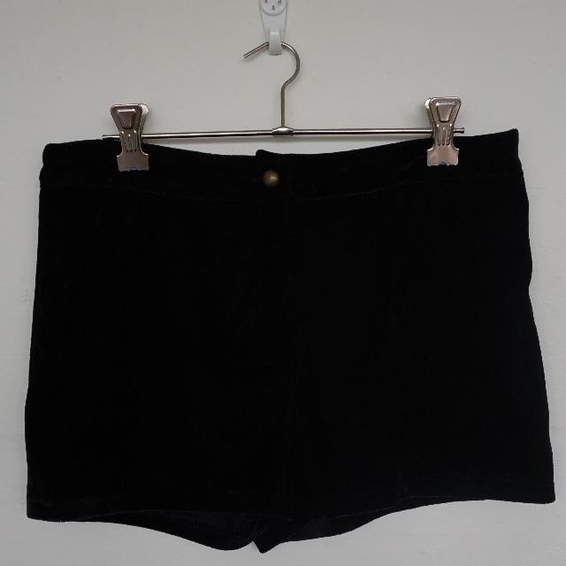 Black Velvet Shorts - Size M