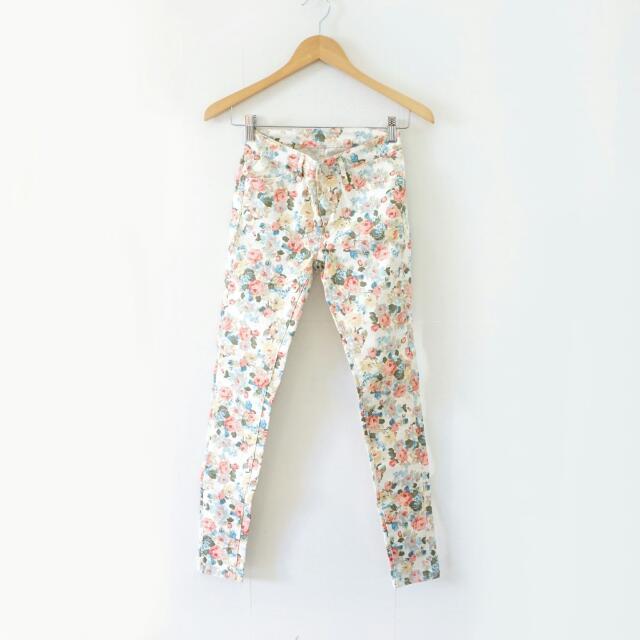 BRAND NEW Flowery Pattern Jeans / Denim Motif Bunga