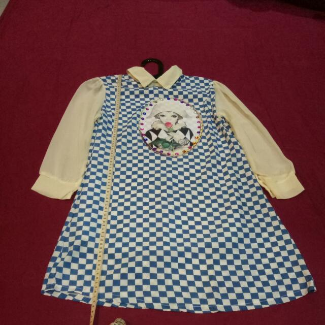 Chess long sleeve Mini dress
