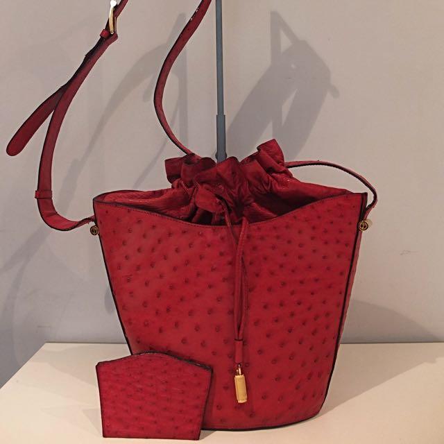 Dunhill Red Ostrich Skin Shoulder Bag