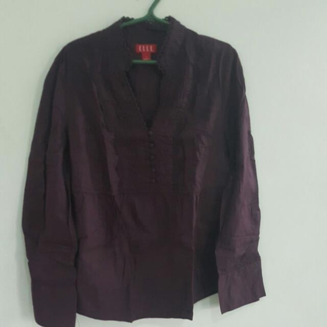 Elle Violet Chinese Collared Blouse