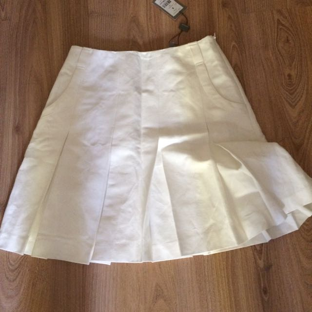 Jigsaw White Pleated Skirt