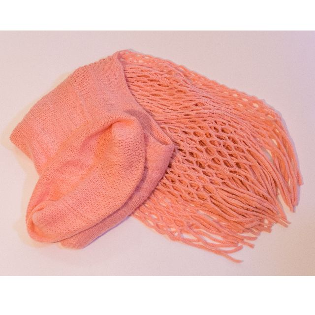 Pink Woolly Snood / Scarf with net trim
