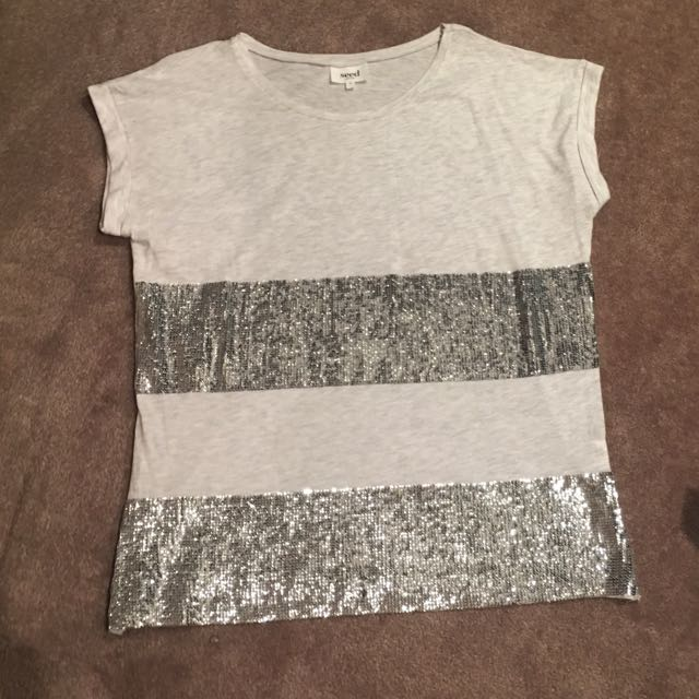 Seed Size M Grey Casual Tshirt With Sequin Pattern