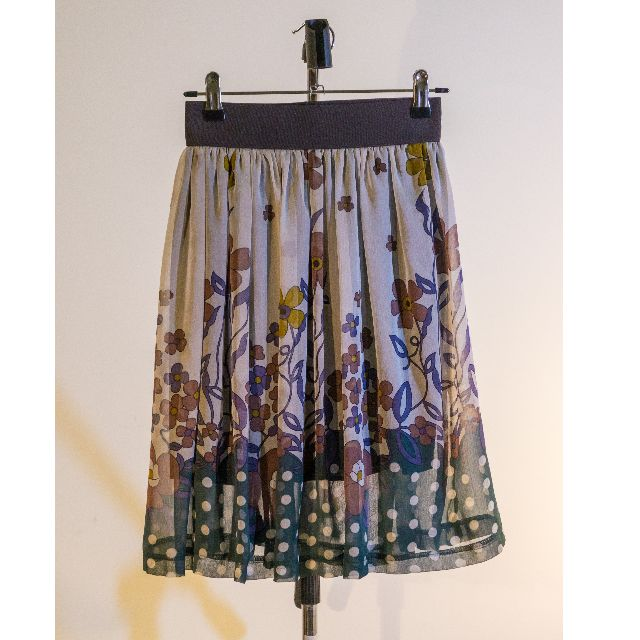 Size 6 Made in NZ Patterned Skirt - Green / Purple / Grey Floral Polka Dot