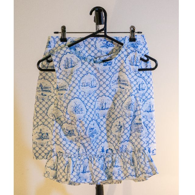 Size 8 ASOS Reclaimed Vintage CO-ORD Set With Frill In Sailboat Print