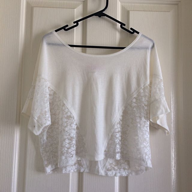 Supre White Lace Crop Top