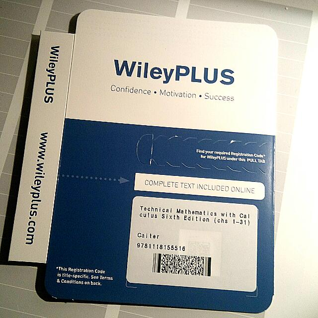 Wiley Plus Code for Technical Mathematics with Calculus, 6th edition