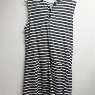 鐵灰色 條紋 連身 背心 洋裝 連身裙