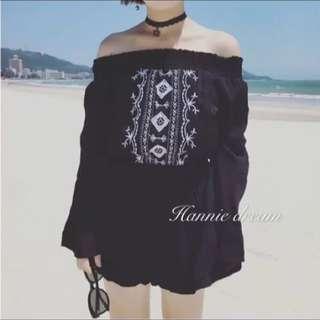 🔥夏出清🔥黑色波西米亞ㄧ字領連身褲