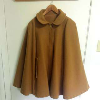 American Apparel Wool Cape in Camel/Tan