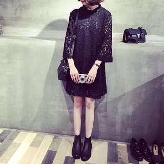 蕾絲女孩過秋冬洋裝 黑現貨1