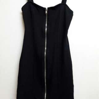 H&M 拉鍊 連身 包臀 馬甲 性感 洋裝