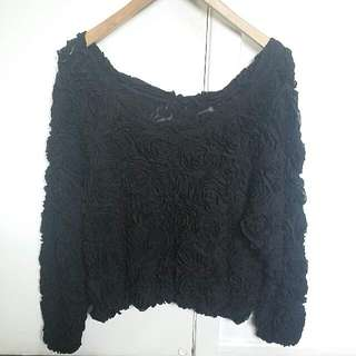 American Apparel 3D Floral Mesh Jumper in Black