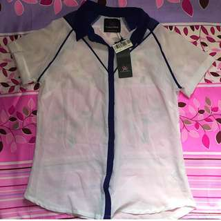 Plains And Prints Blue-collared Blouse