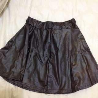 Black Fake Leather Skirt