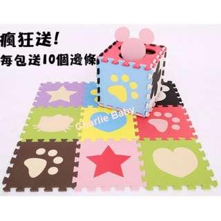 巧拼:每包9片,加碼送邊條 (爬行墊、安全地墊、遊戲圍欄、遊戲床、嬰兒床 參考)