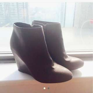Faux Leather Wedge Booties Brown Size 7