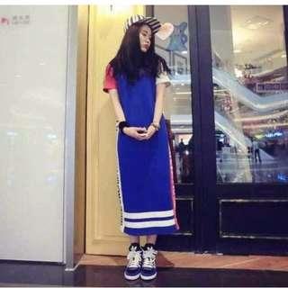 全新轉賣 韓版休閒拼色圖騰洋裝(藍)
