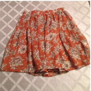 Brandy Melville Orange Floral Skirt