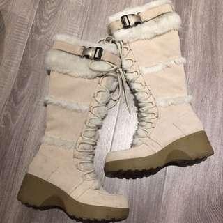 Beige Suede Fur Knee Boots