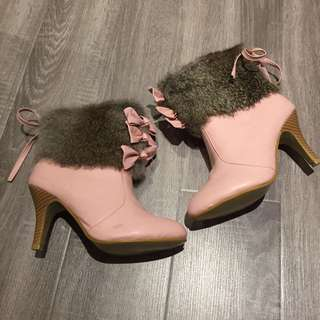 Pink Bow Leather Boots