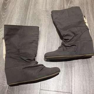 Grey Hidden Wedge Boots