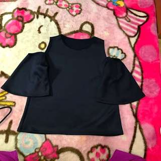 Off Shoulder Blouse Navy Blue