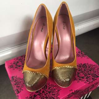 Yellow And Gold Accent High Heels
