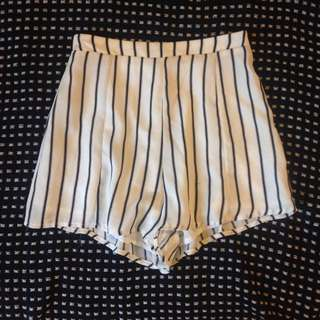 Pinstripe High-Waisted Shorts