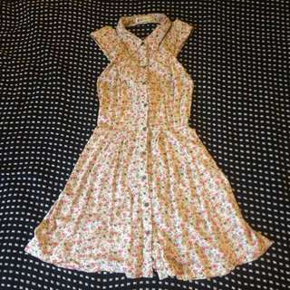 Vintage Floral Button Up Dress