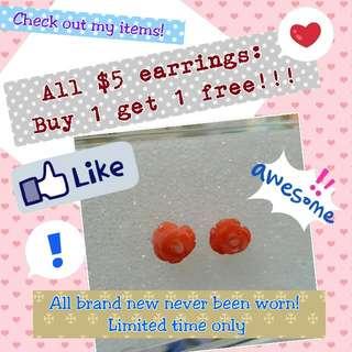 Buy 1 Get 1 Free! All $5 Earrings