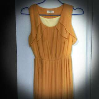 【可議價】芥黃荷葉洋裝