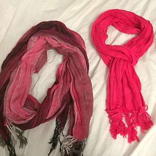Two Pink Scarves