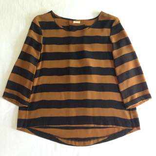 $65 GORMAN Brown/Bronze & Black Stripe 100% Silk Top